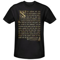 Game of Thrones Night's Watch Oath T-Shirt [Black]