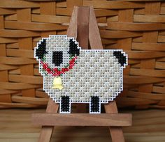 Little Lamb Cross Stitched and Beaded Ornament by SantasStitchery