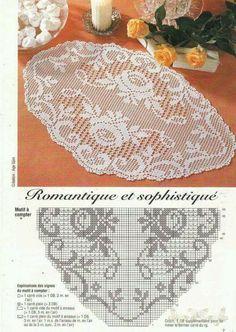 This Pin was discovered by sem Filet Crochet Charts, Crochet Doily Patterns, Crochet Cross, Crochet Home, Thread Crochet, Crochet Designs, Crochet Doilies, Knit Crochet, Crochet Table Runner