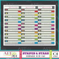 Stripes and Stars Rainbow To do list Note Pad Memo Pad
