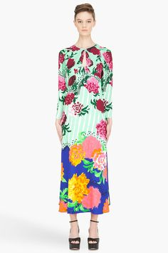 MARC JACOBS mint multicolor carnation Dress