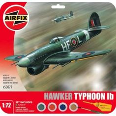 This Airfix model of the Hawker Typhoon was part of the 183 Squadron based in France in Set includes Humbrol poly cement, 1 paint brush and 4 acrylic paints. Hawker Typhoon, Airfix Models, Things To Buy, Miniature, Military, Sea, Painting, Painting Art, Miniatures