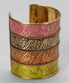 Take a look at this Pink & Yellow Enamel Embossed Cuff by ZAD on #zulily today!