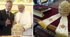 The Holy Father was presented with a beautifully ornate, Papal Tiara handmade by the nuns of the Rajcica monastery, with pearls from the Ohrid Lake.