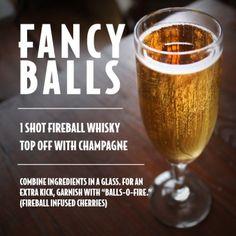 Fireball whiskey -- groomsmen drinks before the wedding? Fireball Drinks, Fireball Recipes, Alcohol Drink Recipes, Alcoholic Drinks, Bar Drinks, Cocktail Drinks, Yummy Drinks, Whiskey Cocktails, Bourbon Drinks