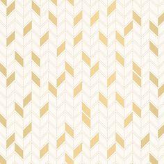 Papier peint RENATA 100% intissé motif graphique, doré, fond blanc   Saint Maclou