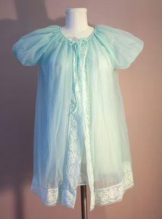 60s Babydoll Peignoir Set Aqua Blue DoubleNylon Gown by iseefrance, $46.00