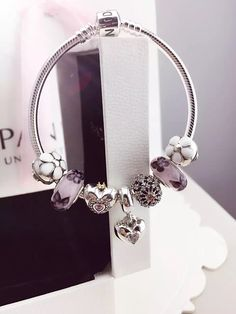 50% OFF!!! $199 Pandora Charm Bracelet White Purple. Hot Sale!!! SKU: CB01725 - PANDORA Bracelet Ideas