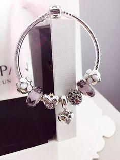 50% OFF!!! $199 Pandora Charm Bracelet White Purple. Hot Sale!!! SKU: CB01725 - PANDORA Bracelet Ideas