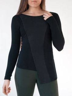 - What You Need to Know - Specs - Shipping What you need to know: - Modern minimalist top with unique asymmetrical hemline. - Statement-making style as comfortable as yoga wear. - Soft and stretchy ra
