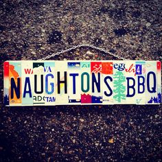 Business Signs, Business Names, License Plate Art, Stainless Steel Nails, Name Signs, Bbq, Recycling, Chain, Colors