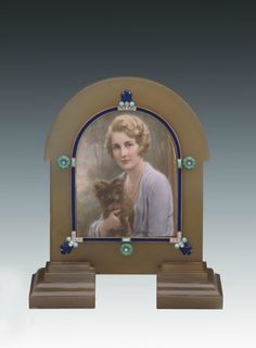 Cartier Frame with Miniature of Eleanor Barzin  Agate, gold, enamel, diamonds, turquoise.
