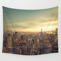 Wall Tapestries featuring New York Skyline Cityscape by Vivienne Gucwa I would hang this on a plain wall and just pretend its my window <3