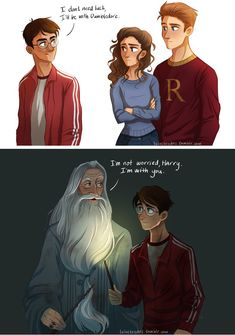 "Harry said to Ron & Hermione, ""I don't need luck, I'll be with Dumbledore. Dumbledore later said, ""I'm not worry Harry, I'm with you. Fanart Harry Potter, Harry Potter World, Mundo Harry Potter, Harry Potter Drawings, Harry Potter Jokes, Harry Potter Universal, Harry Potter Fandom, Harry Potter Comics, Harry Potter Deleted Scenes"