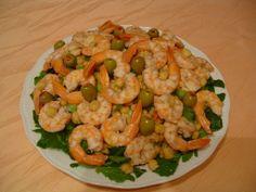 Σαλάτα με όσπρια και θαλασσινά Shrimp, Meat, Food, Meal, Eten, Hoods, Meals