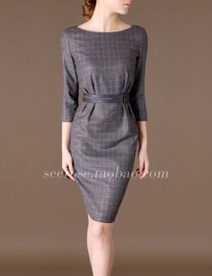 Proper work fashion 2014 | 2014 new arrived fashion wool dress slim sexy work lady clothes a s ...