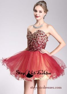 Sparkly Gold Red Rhinestone Beaded Top Short Strapless Two Tone Dress 2015