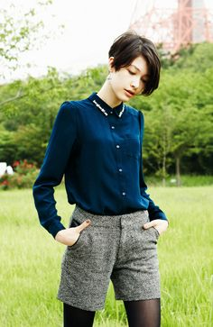I love tweed shorts with tights for fall!   Women's fall fashion clothing outfit casual work daytime