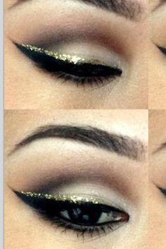 Gold winged eyeliner