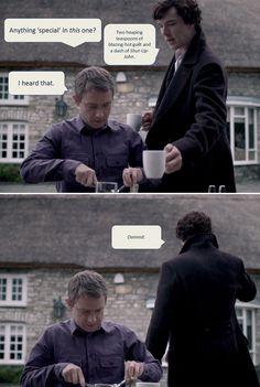 Sherlock and John Watson. Coffee. The fact that Sherlock starts getting John's coffee is adorable to me.