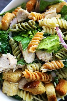 INGREDIENTS 8 ounces rotini pasta, cooked 6 cups chopped romaine lettuce 1-2 boneless skinless chicken breasts 1 teaspoon garlic powder salt and pepper to taste 2 cups caesar dressing ½ red onion, chopped 1 cup shredded parmesan cheese 2 cups croutons INSTRUCTIONS Season chicken with garlic powder, and salt and pepper to taste. Cook over medium heat 4-5 minutes on each side until cooked through. Chop into bite size pieces. Add all remaining ingredients to a large bowl and toss to combine.