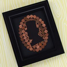 Penny Lincoln Silhouette- I would like this is negative, so lincoln is made of pennies on a colored background.