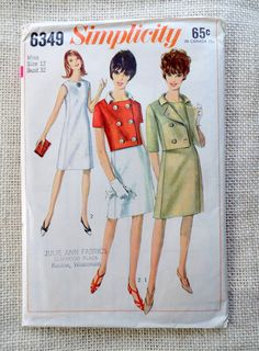 Vintage Simplicity 6349 sewing pattern 1960s Jackie Kennedy Onassis suit Double breasted Cropped jacket Skirt Bust 32 shift dress