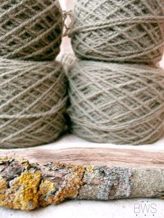 Natural plant dyed wool yarn in pale green. DK yarn weight. Organic. Suitable for knitting tablet weaving, crochet and nalbinding.