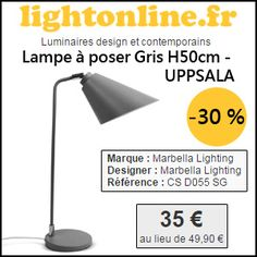 #missbonreduction; 30% de remise sur la Lampe à poser Gris H50cm - UPPSALA chez Lightonline. http://www.miss-bon-reduction.fr//details-bon-reduction-Lightonline-i852649-c1828225.html