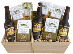 With California Nunes Farms roasted salted mixed nuts, roasted salted almonds with sea salt, roasted salted pistachios, honey cinnamon almonds, two packs of roasted salted cashews and bottles of Cali's Dad root beers.