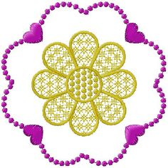 flowers and hearts embroidery desgn