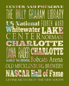 Charlotte North Carolina Typography Poster/Bus/ by LegacyHouseArt, $42.95