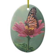 0465 Monarch Butterfly on Zinnia Ceramic Ornament - flowers floral flower design unique style