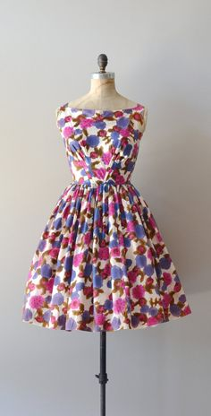 silk 1950s dress / vintage floral 50s dress / by DearGolden, $88.00