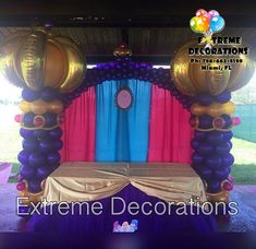 Shimmer and Shine party decorations. Balloon columns balloon arch. Backdrop. Party decoration ideas. Party decorations Miami . Extreme Decorations Ph: 786-663-8198 www.extremedecorations.com extremedecorations@gmail.com