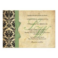 Sage Green Ivory Black Damask Vintage Sage Bow Wedding Invitations