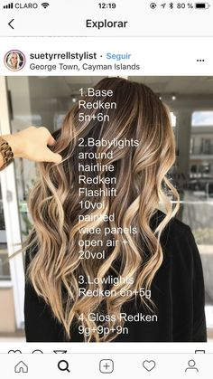 Hair color ideas for brunettes balayage, blonde hair, color highlights, red Cabelo Ombre Hair, Balayage Hair, Bayalage, Hair Color Formulas, Redken Color Formulas, Hair Color Techniques, Brown Blonde Hair, Great Hair, Pretty Hairstyles