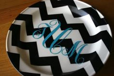 Monogrammed chevron plate #DIY i could do this at color me mine!