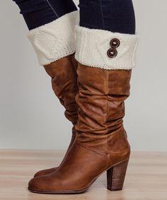 Look at this #zulilyfind! Ivory Button Boot Cuffs by Stay Warm In Style #zulilyfinds