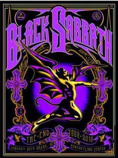 Black Sabbath - Jan 20 2016 - The End tour poster Concert Rock, Black Sabbath, Rock Logos, Hard Rock, Rock And Roll, Rock Band Posters, Heavy Metal Art, Heavy Metal Bands, Festival Posters