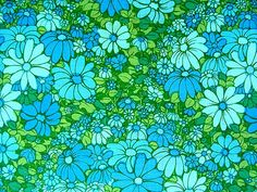 I know this blue and green floral fabric pattern from the Vintage Floral Fabric, Motif Vintage, Vintage Patterns, Vintage Fabrics, Hippie Art, Fabric Patterns, Henna Patterns, Mid Century Art, Retro Pattern