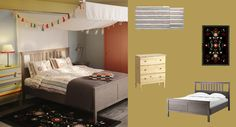 HEMNES grey-brown bed with ÅKERFRÄKEN multicoloured quilt cover and pillowcases and ÅKERKULLA rug-Cute 3 drawer chest $79.99 as bediside table and for storage