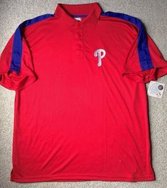 Men XL see-size-info!! PHILADELPHIA PHILLIES DRY-FIT POLO T-SHIRT Golf Polyester #GenuineMLBMerchandise #PhiladelphiaPhillies