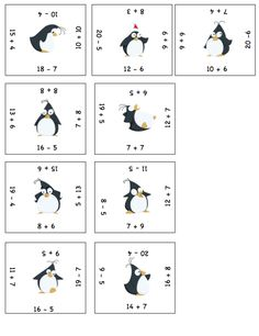 Puzzle de calculs sur le thème des pingouins