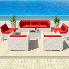 Uduka Outdoor Modern Patio Furniture White Wicker Set Daly 8 Red All Weather Couch #patiofurniture #Wickerfurniture #Rattanfurniture #outdoor