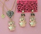 Betsey Johnson pink crown small pig Earrings double-deck Necklace v N031+E072 - http://designerjewelrygalleria.com/betsey-johnson/betsey-johnson-earrings/betsey-johnson-pink-crown-small-pig-earrings-double-deck-necklace-v-n031e072/