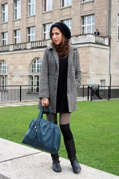 Subtle shades of grey and Bata boots featured by Swiss Fashion Blogger Neslihan.