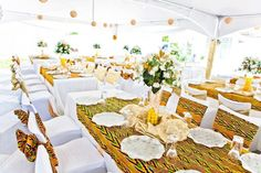 Mariage - Chemins de tables et housses de chaises - Inspiration Kita Wedding - Table Runners and Cha African Wedding Theme, African Theme, African Weddings, Traditional Wedding Decor, African Traditional Wedding, Engagement Decorations, Wedding Table Decorations, Table Wedding, Wedding Cake