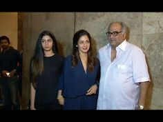 Sridevi with husband & daughter at Dil Dhadakne Do's special screening.