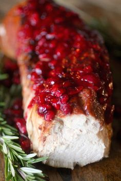 This Cranberry Glazed Turkey Tenderloin is perfect to make for a special occasion, but also easy enough to make any night of the week! The turkey is tender and juicy, and the glaze adds a melody of flavor that is hard to beat! Crockpot Turkey Tenderloin, Slow Cooker Pork Tenderloin, Pork Tenderloin Recipes, Baked Turkey, Roasted Turkey, Thanksgiving Recipes, Holiday Recipes, Dinner Recipes, Entree Recipes